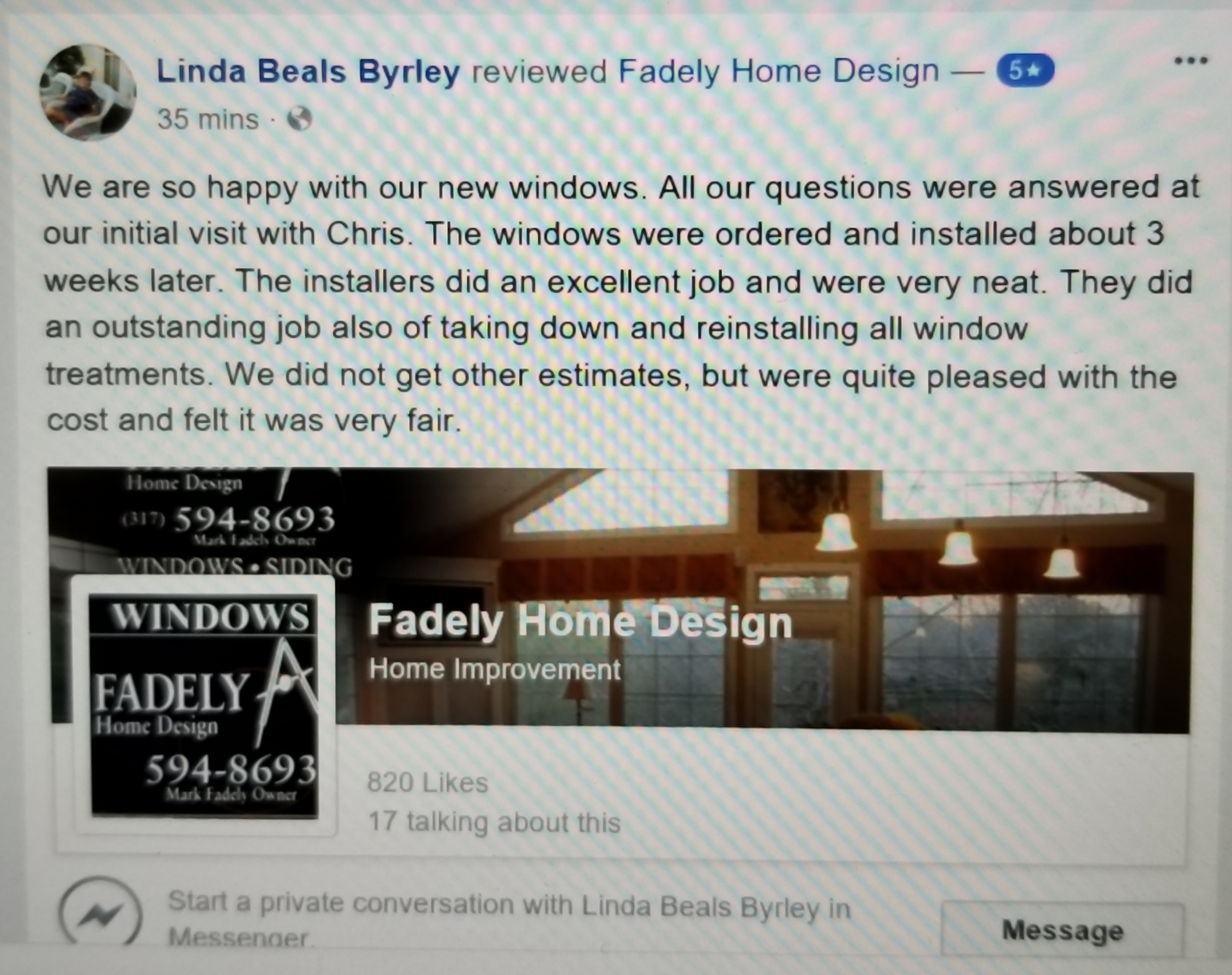 Testimony, Review, Fishers, Indiana, Alside replacement windows, window installation, 5 star