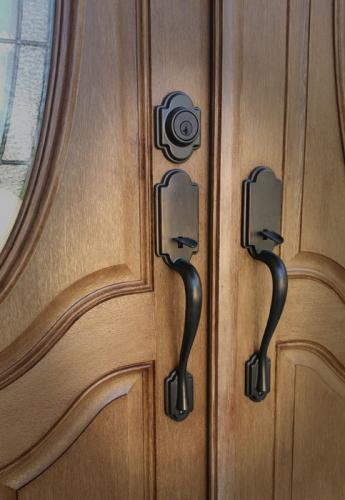 Oil rubbed bronze handleset for double door, replacement door, therma tru, door installation, Carmel Fishers, Indianapolis, Indiana