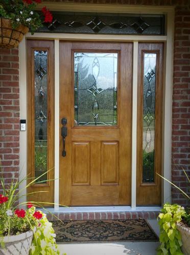 Therma-Tru Fiber Classic entry door with sidelights stained oak, replacement door, door installation, Carmel, Fishers, Indianapolis, Indiana