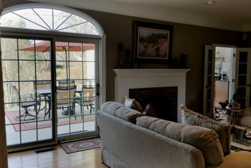 Pella Proline sliding patio door with elliptical transom window, roundtop window, Carmel, Fishers, Indianapolis, Indiana
