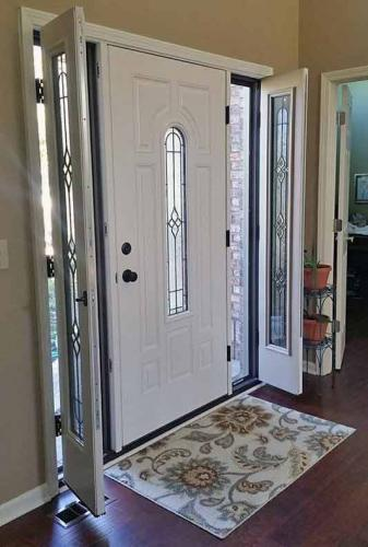 Therma-Trudoor installation, replacement door, door, engery efficient, side lights. Serving Carmel, Fishers, Indianapolis, Indiana and surrounding counties.